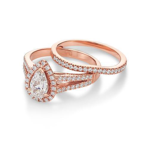 Pear Cut Halo Ring and Band Set in Rose Gold