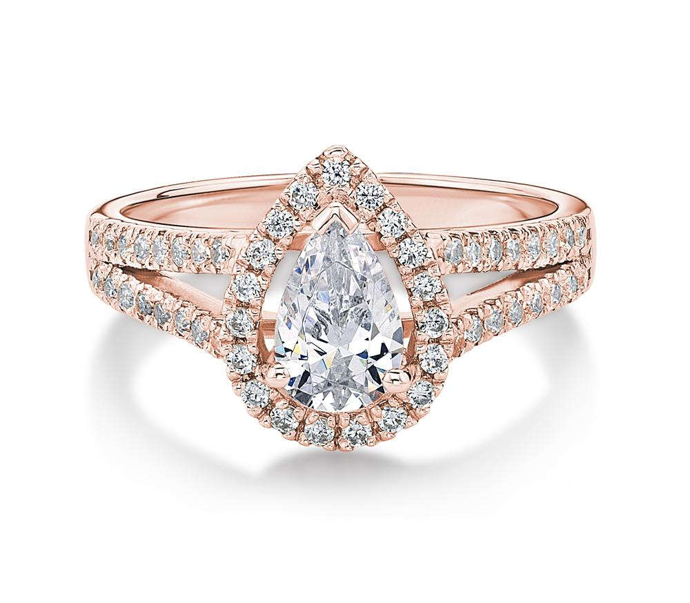 Pear Halo Ring in Rose Gold