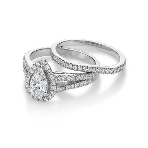 Pear Cut Halo Ring and Band Set in White Gold