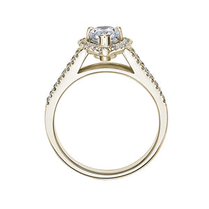 Pear Halo Ring in Yellow Gold