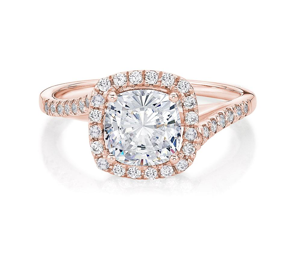 Cushion Swirl Halo Engagement Ring in Rose Gold