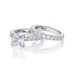 Princess Cut Engagement Ring and Band Set in White Gold