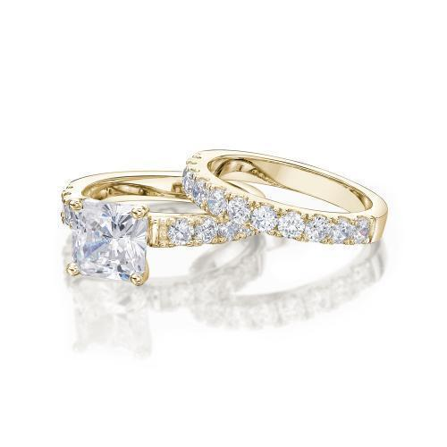 Princess Cut Engagement Ring and Band Set in Yellow Gold