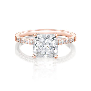 Princess Cut and Round Brilliant Engagement Ring in Rose Gold