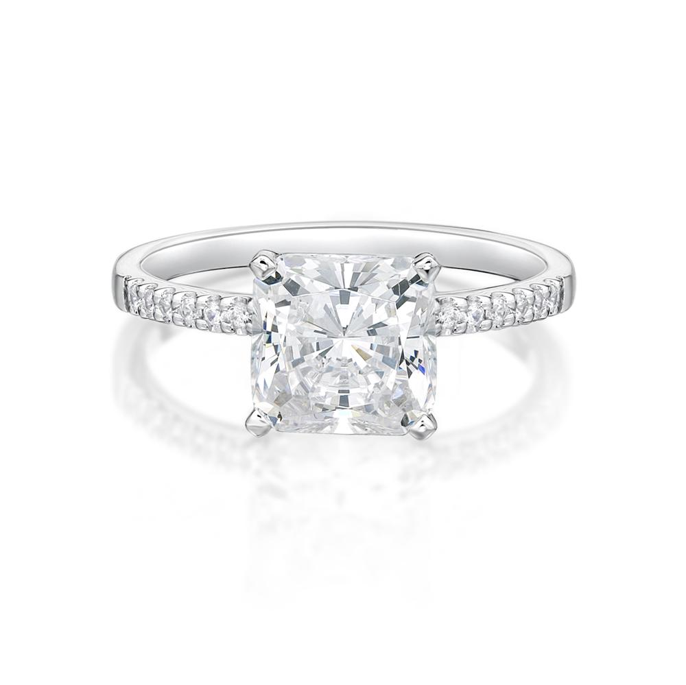 Princess Cut and Round Brilliant Engagement Ring in White Gold