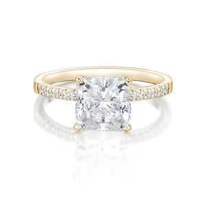Princess Cut and Round Brilliant Engagement Ring in Yellow Gold