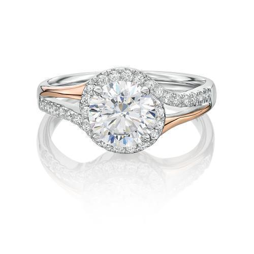 Round Brilliant Cut Swirl Engagement Ring in Rose Gold w/ White Gold Setting