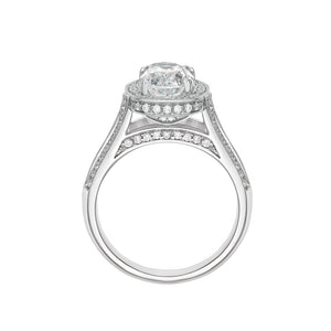 Oval Cut Split Band Engagement Ring White Gold Setting