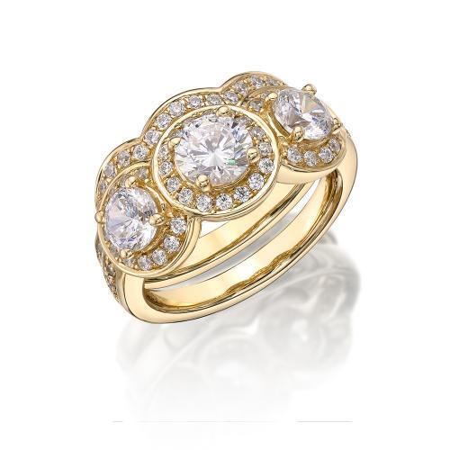 Round Brilliant Cut Halo Three Stone Ring with Side Stones and Trilogy Band Set in Yellow Gold