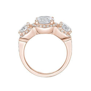 Round Brilliant Cut Halo Three Stone Ring and Band Set in Rose Gold