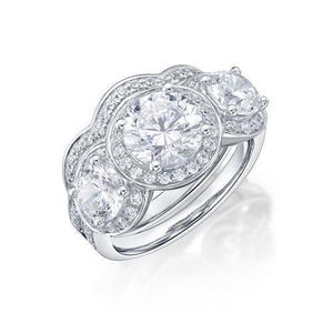 Round Brilliant Cut Halo Three Stone Ring and Band Set in White Gold
