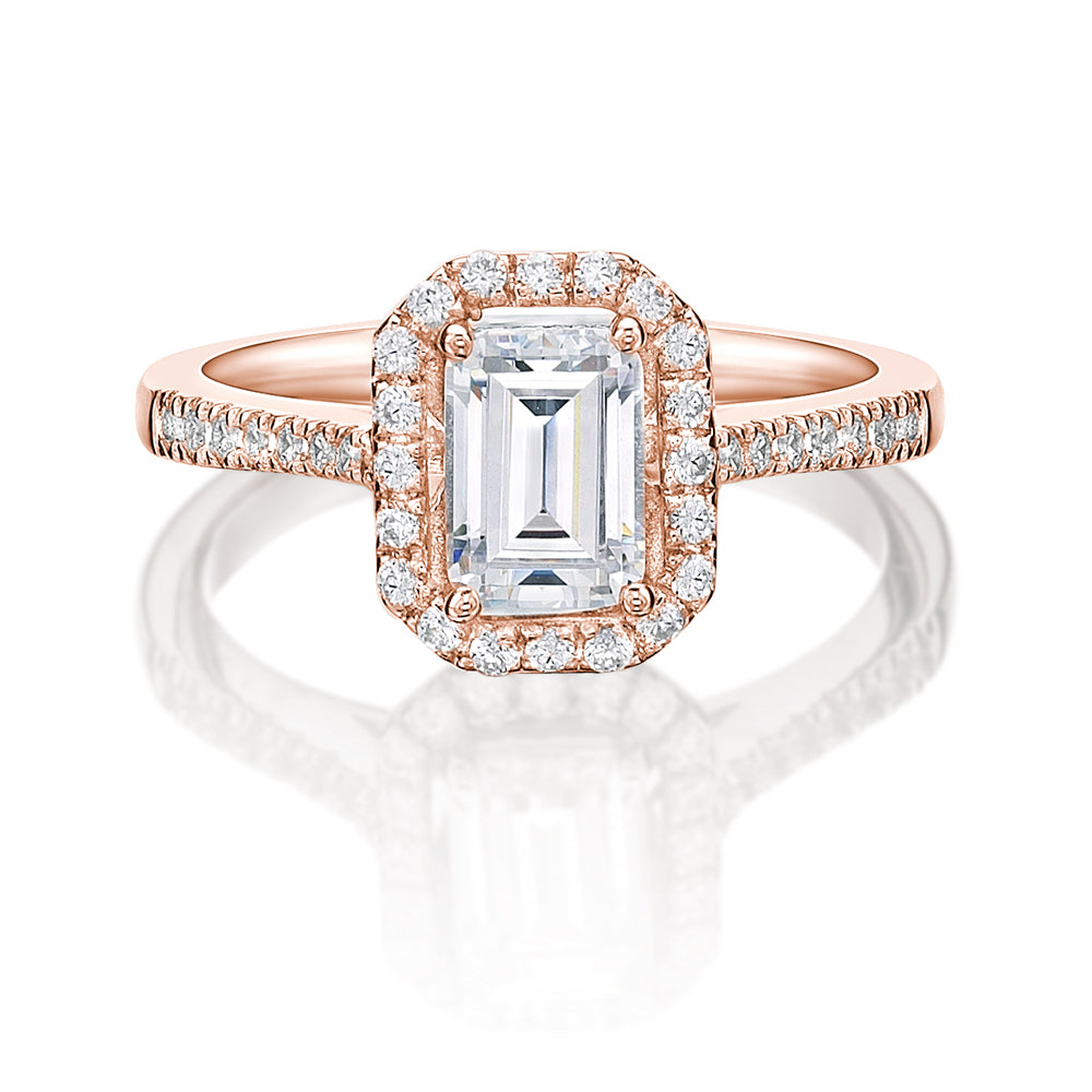 Emerald Cut Halo Engagement Ring in Rose Gold