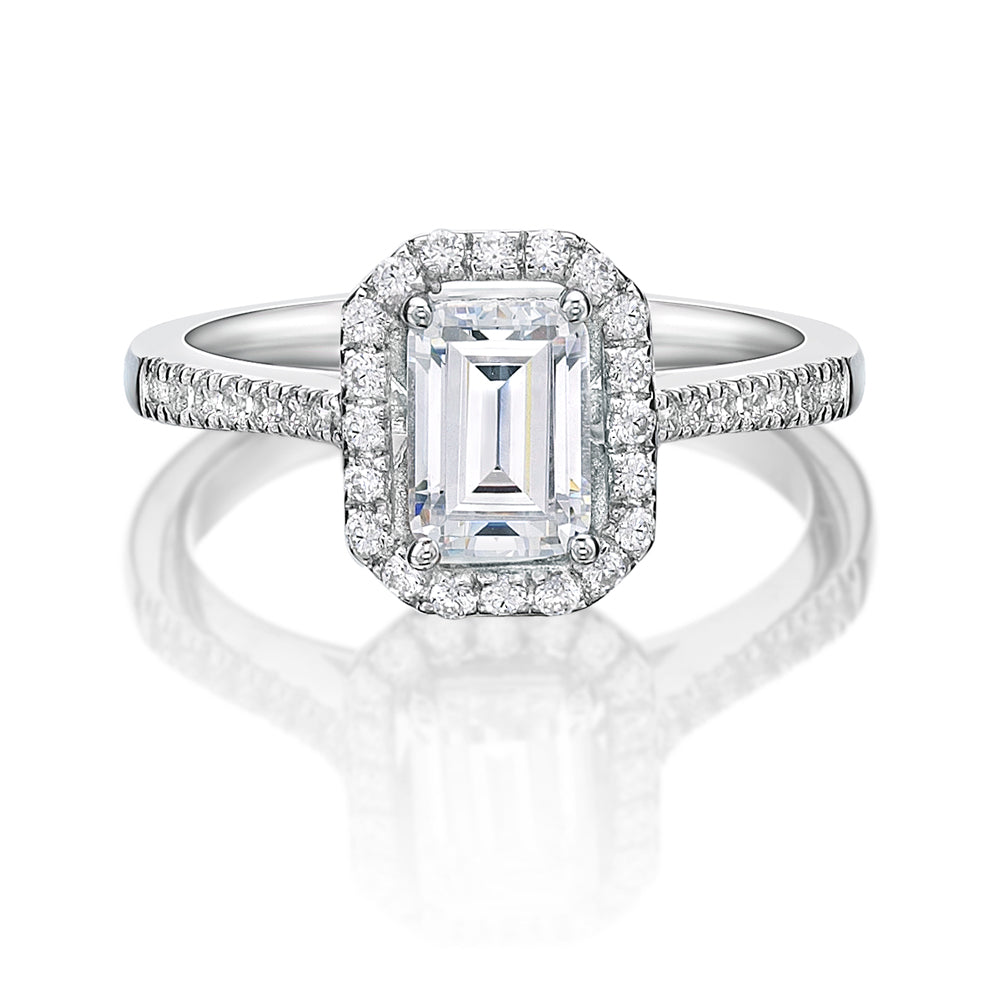 Emerald Cut Halo Engagement Ring in White Gold
