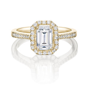 Emerald Cut Halo Engagement Ring in Yellow Gold