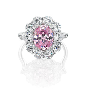 Oval Cut Cluster Ring - Pink Simulant Colour
