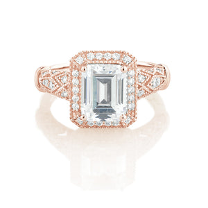 Emerald Cut Vintage Style Ring in Rose Gold