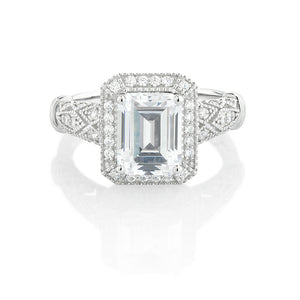 Emerald Cut Vintage Style Ring in White Gold