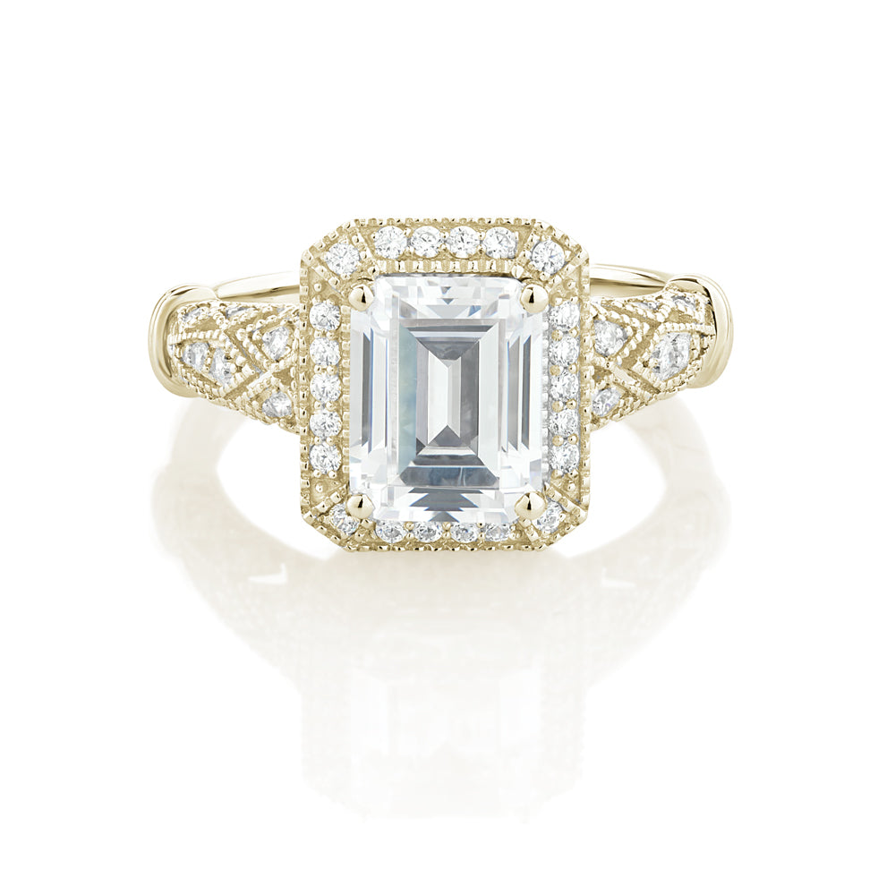 Emerald Cut Vintage Style Ring in Yellow Gold