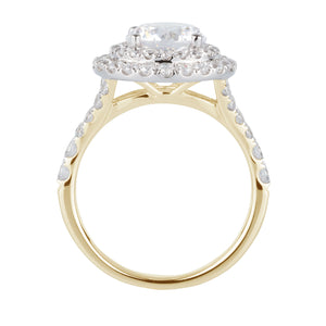 Juliet Round Brilliant Double Halo Engagement Ring in Yellow Gold with White Gold setting