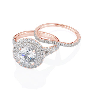 Juliet Round Brilliant Double Halo Engagement Ring and Band in Rose Gold