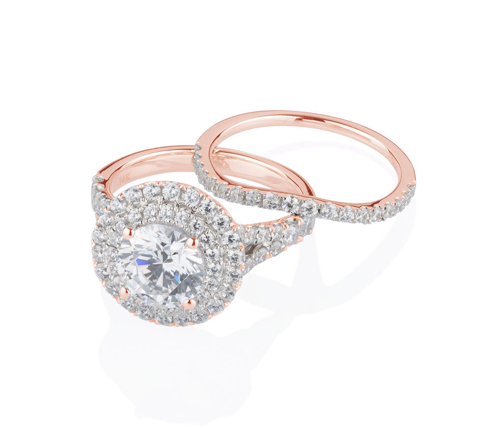Juliet Double Halo curved band in 10ct Rose Gold