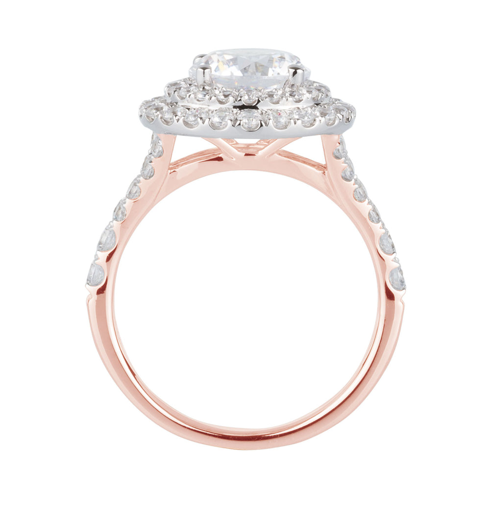 Juliet Round Brilliant Double Halo Engagement Ring in 10ct Rose Gold with White Gold setting