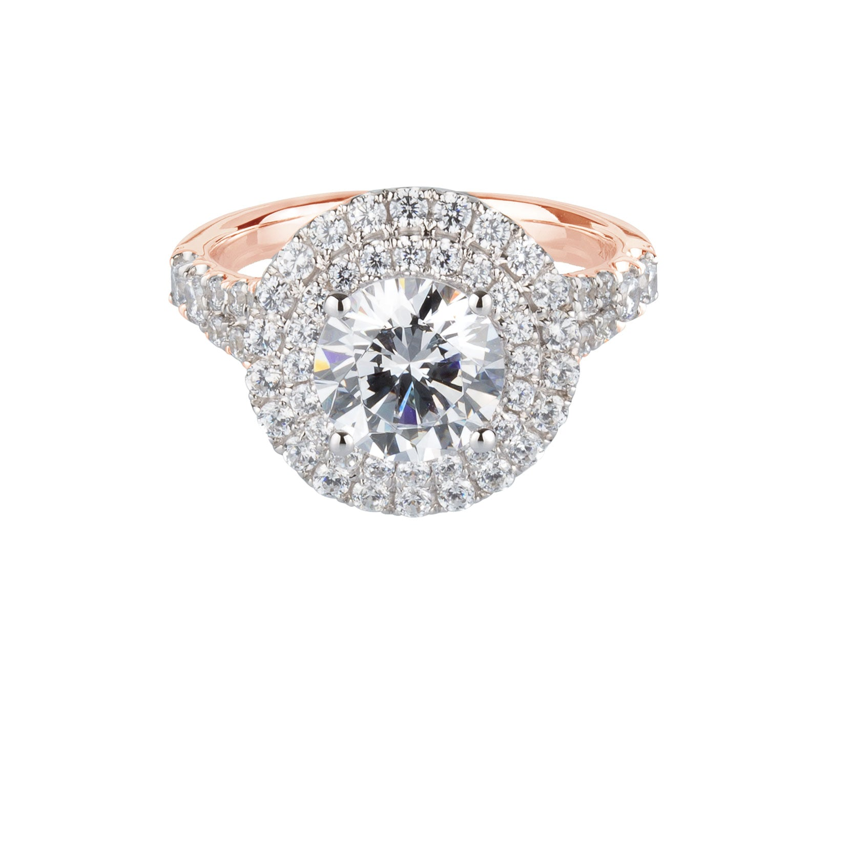 Juliet Round Brilliant Double Halo Engagement Ring in Rose Gold with White Gold setting