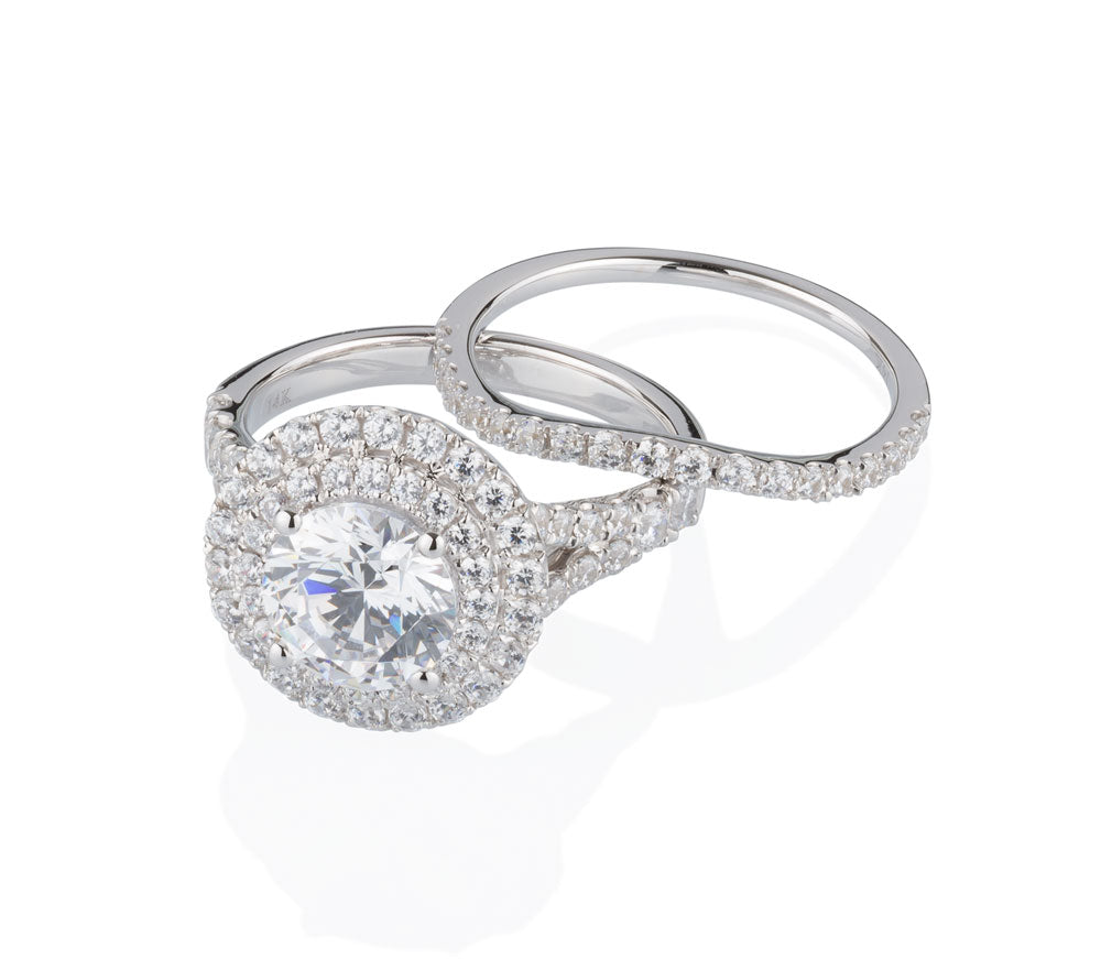 Juliet Round Brilliant Double Halo Engagement Ring and Band in White Gold