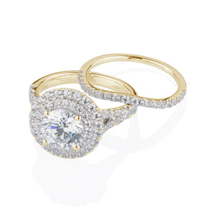 Juliet Round Brilliant Double Halo Engagement Ring and Band in Yellow Gold