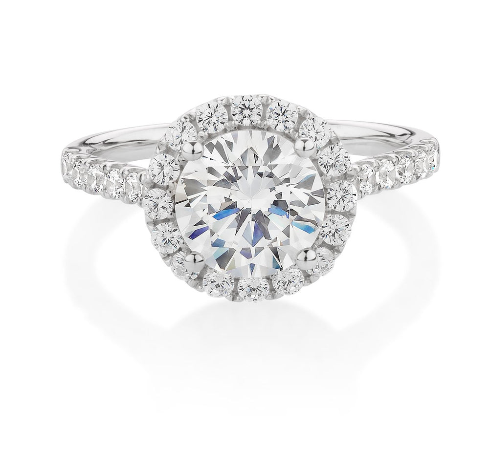 Round Brilliant 2ct Halo Engagement Ring White Gold