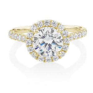 Round Brilliant 2ct Halo Engagement Ring Yellow Gold