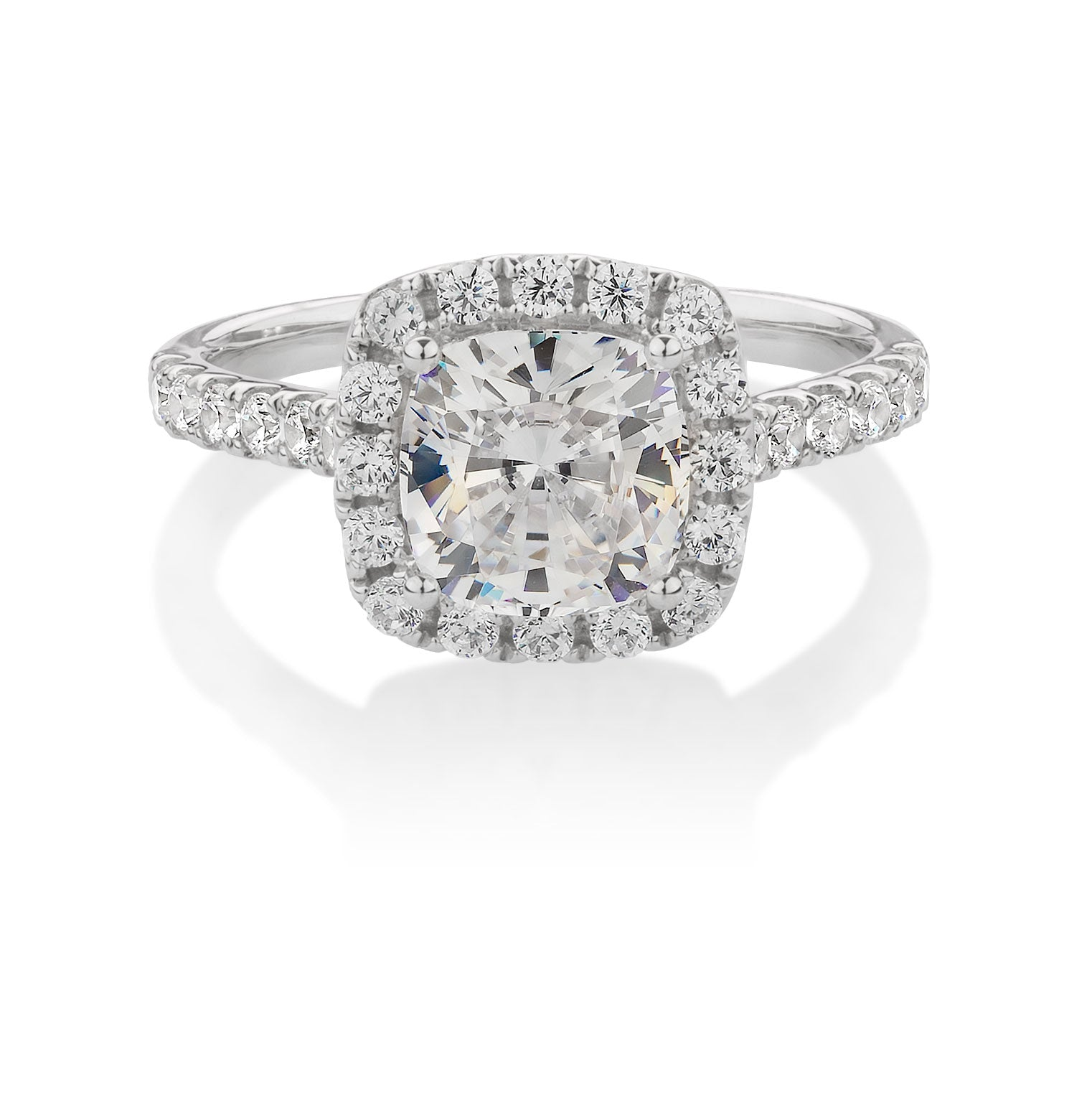 Large Cushion Cut Halo Engagement Ring in 10ct White Gold