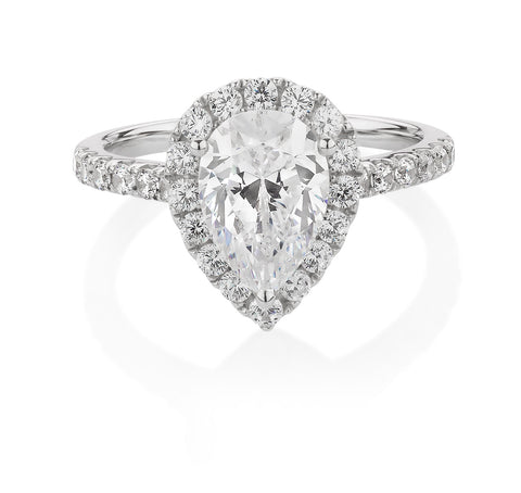 Pear and Round Cut Halo Engagement Ring White Gold