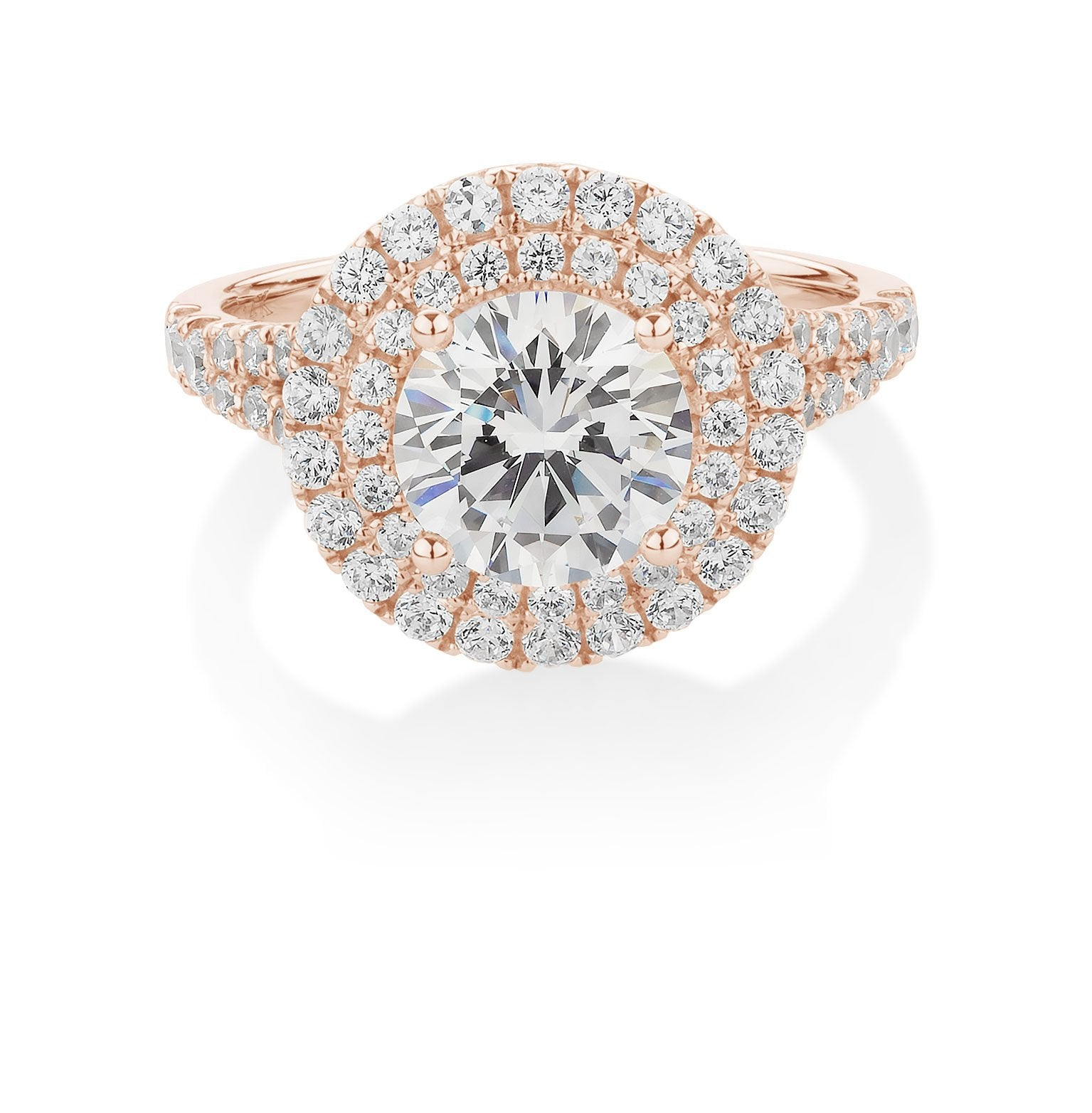 Juliet Round Brilliant Double Halo Engagement Ring in 10ct Rose Gold