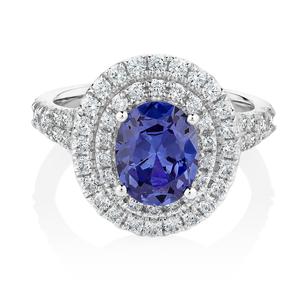 Tanzanite oval cut diamond Simulant double halo ring crafted in white gold