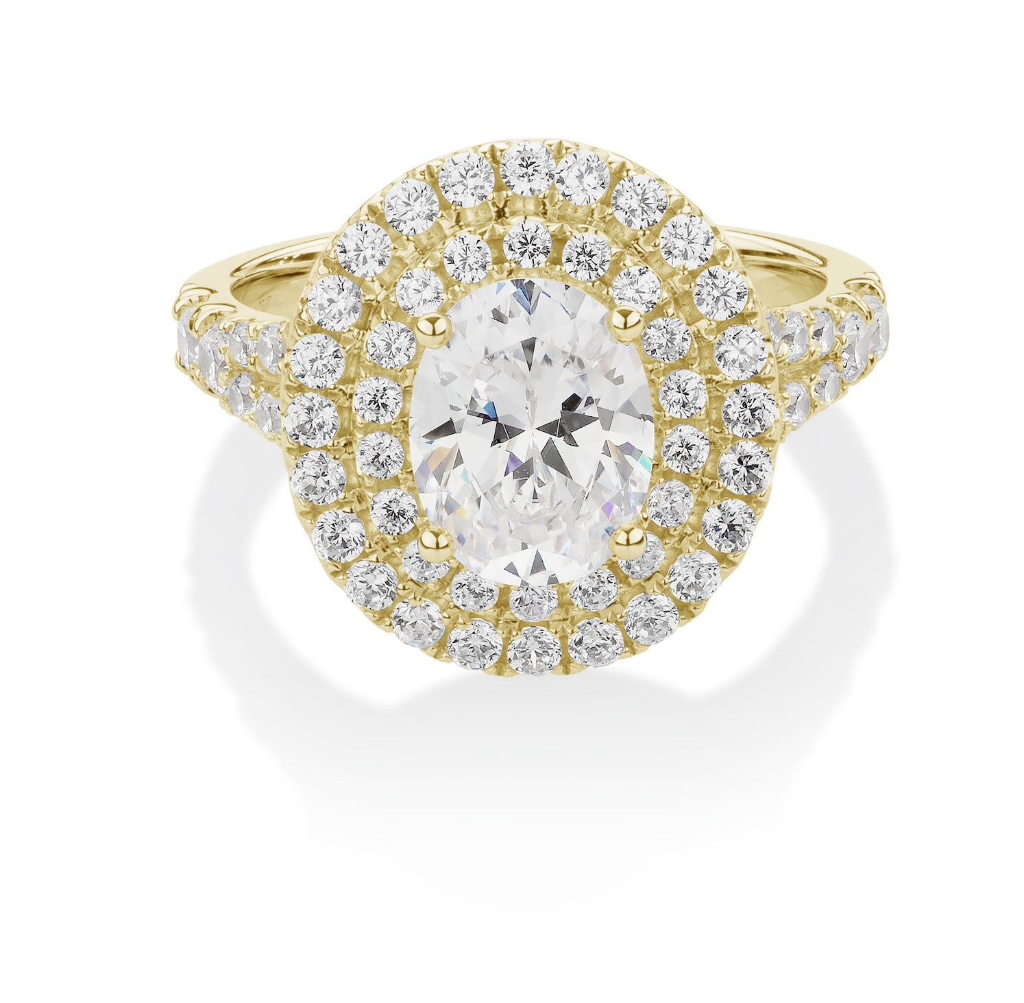 Oval and Round Cut Double Halo Engagement Ring Yellow Gold