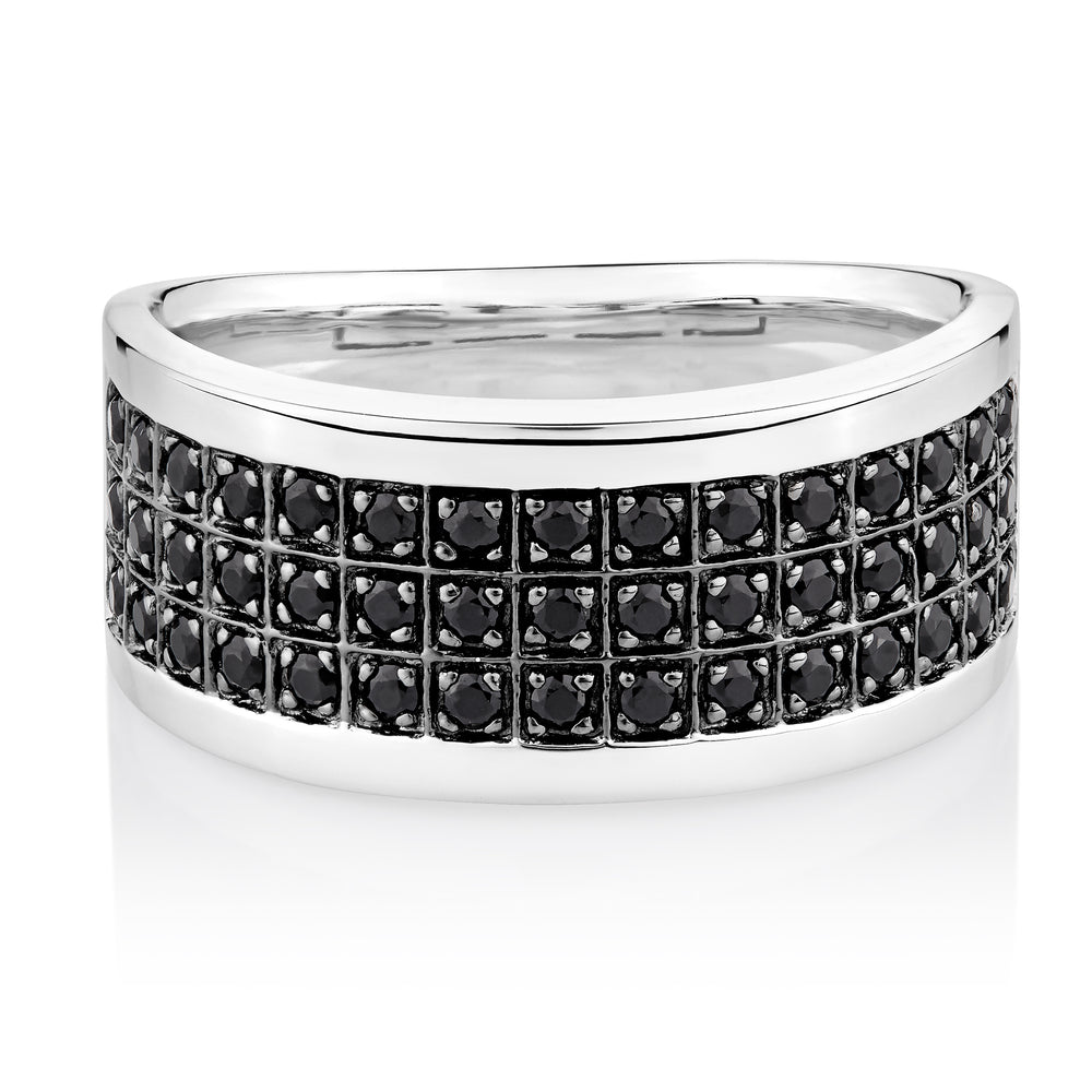Black round brilliant cut diamond simulant men's ring crafted in sterling silver