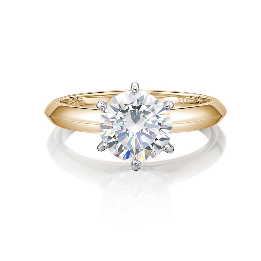 Round Brilliant Cut Solitaire with Knife Edge Band in Yellow Gold w/ White Gold Setting