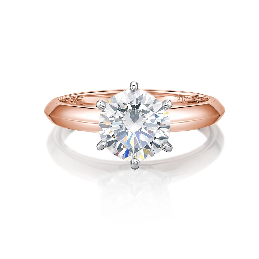 Round Brilliant Cut Solitaire with Knife Edge Band in Rose Gold w/ White Gold Setting