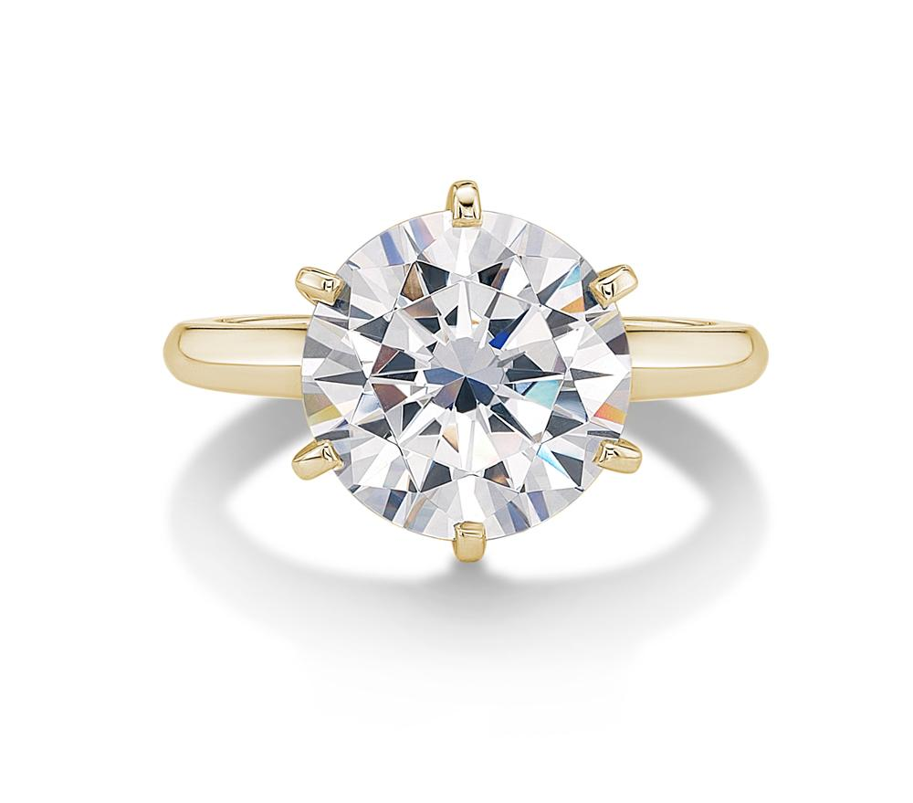Large Round Brilliant Cut Knife Edge Solitaire in Yellow Gold