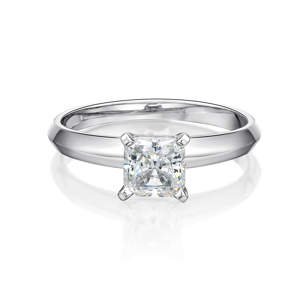 Princess Cut Solitaire with Knife Edge Band in White Gold