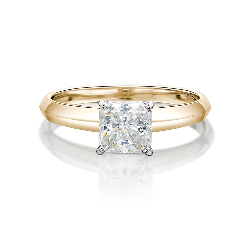 Princess Cut Solitaire with Knife Edge Band in Yellow Gold w/ White Gold Setting