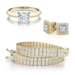 Princess Cut Gift Set in Yellow Gold w/ White Gold Setting