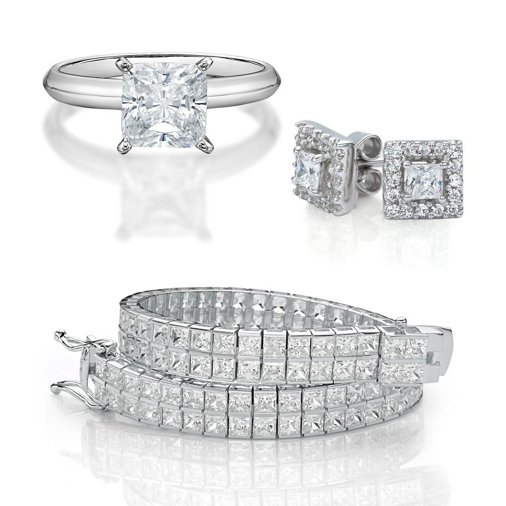 Princess Cut Gift Set in White Gold
