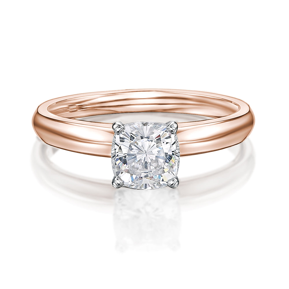 Cushion Cut Solitaire With Knife Edge Band in Rose Gold w/ White Gold Setting