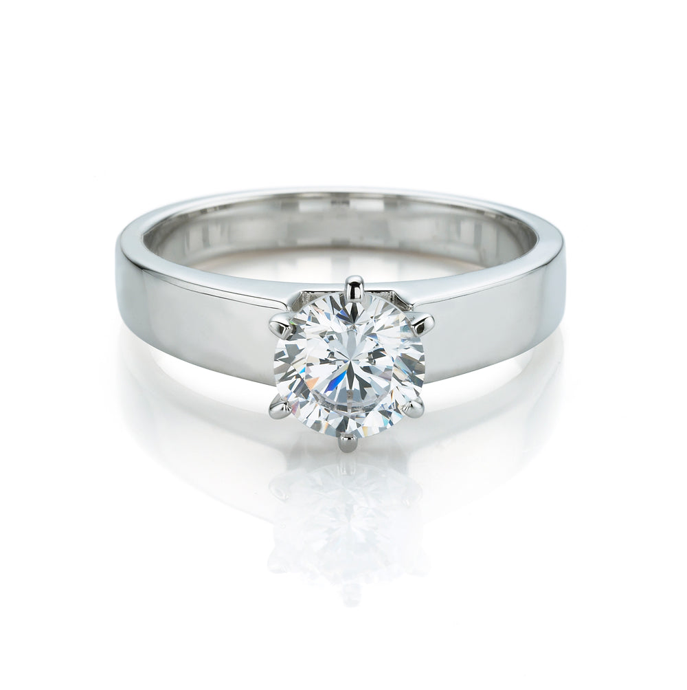 white engagement halo in diamond flat with pave and ring shank gold cut bezel plain emerald