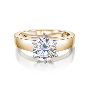 Flat Band Round Brilliant Cut Solitaire Engagement Ring in Yellow Gold w/ White Gold Setting