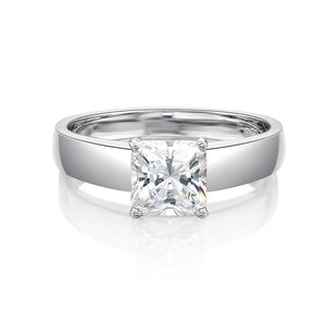 Princess Cut Solitaire with Flat Band in White Gold