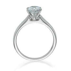 Round Brilliant Cut Solitaire with Half Round Band Set in White Gold