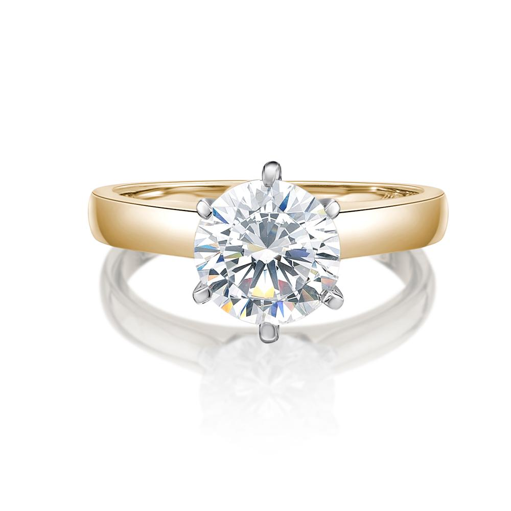 Round Brilliant Cut Solitaire with Half Round Band in Yellow Gold w/ White Gold Setting